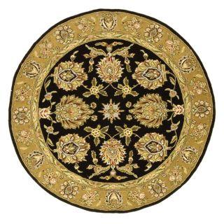 Handmade Tabriz Black/ Gold Wool and Silk Rug (8 Round)