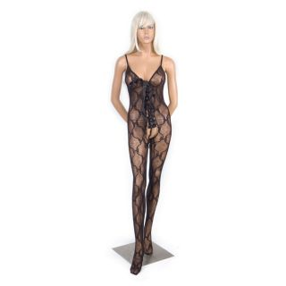 Hustler Womens Black Lace up Crotchless Bodystocking