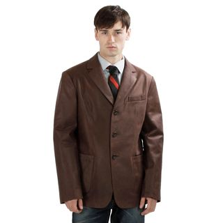 United Face Mens Vintage Brown Leather 3 button Blazer Jacket