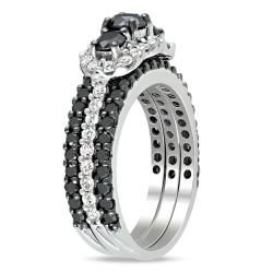 Miadora 10k White Gold 2ct TDW Black & White Diamond Ring Set