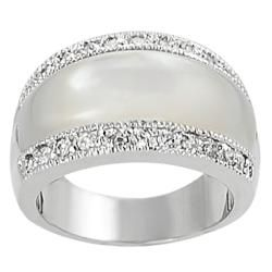 Silvertone Mother of Pearl and Cubic Zirconia Dome Ring