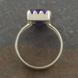 Sterling Silver Purple Quartz Solitaire Ring (Thailand)