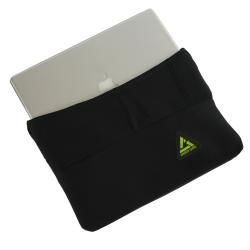 Black Fold over Flap One pocket Green Guru 17 inch Laptop Sleeve