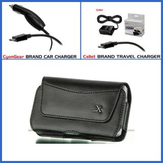 Premium HTC Surround Leather Case with Car Charger and Travel Charger