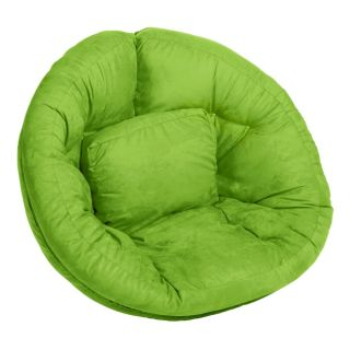 Scoop Lime Green Suede Futon Chair