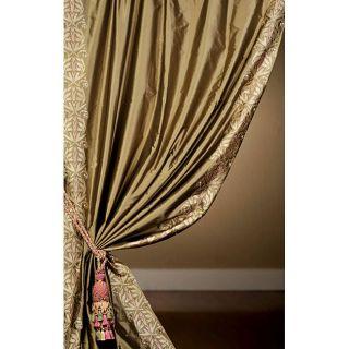 Signature Embroidered Olive Faux Silk Taffeta 120 inch Curtain Panel