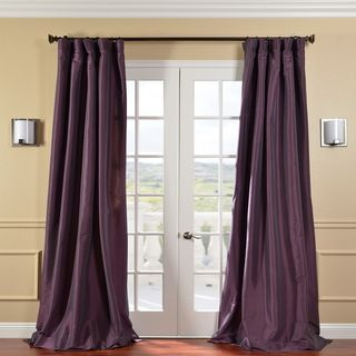 Solid Faux Silk Taffeta Dahlia 120 inch Curtain Panel