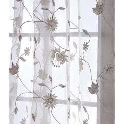Fennel 84 inch Faux Silk Embroidered Organza Sheer Panel