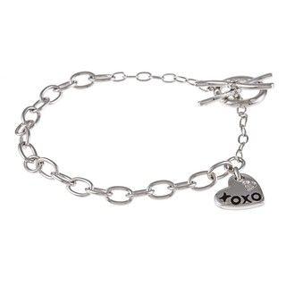 Sterling Silver Diamond Accent XOXO Charm Bracelet