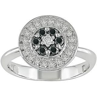 14k White Gold 1/3ct TDW Black White Diamond Ring