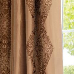 Chai Embroidered Faux Silk 120 inch Curtain Panel