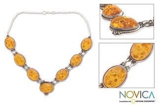 Sterling Silver Amber Honey Love Necklace (India)