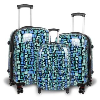 World Blue Squares Pebble 3 piece Polycarbonate Luggage Set