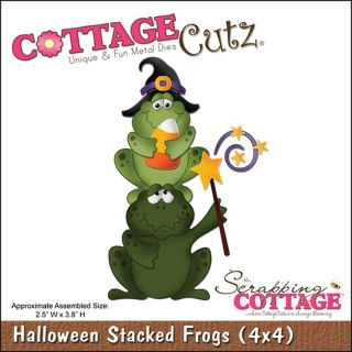 CottageCutz Halloween Stacked Frogs 4x4 inch Die Today $17.49