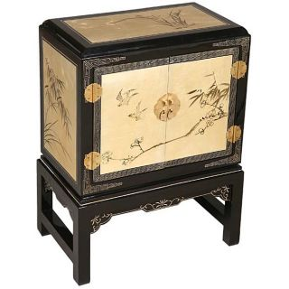 Black and Gold Lacquer Oriental Cabinet/ End Table