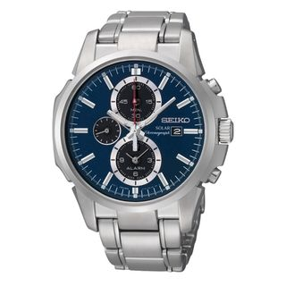 Seiko Mens Solar Alarm Chrono Blue Dial Stainless Steel Watch