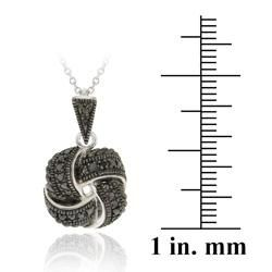 DB Designs Sterling Silver Black Diamond Accent Love Knot Necklace