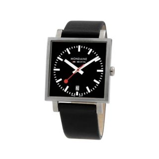 Mondaine Mens Swiss Railways Big Square Black Dial Watch