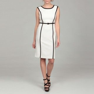 Sandra Darren Womens Ivory Belted Dress