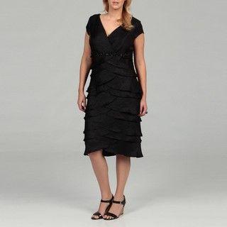 Jessica Howard Womens Plus Size Black Pleat Dress