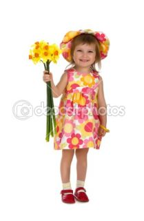 Cute little girl giving flowers  Stock Photo © Tetiana Vychegzhanina