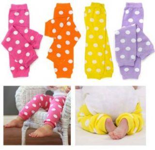 (205) Polka Dot 4 Pack baby girl toddler child leg warmers
