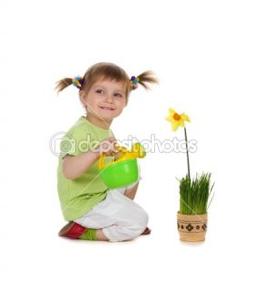 Cute little girl watering the flower  Foto de Stock © Tetiana