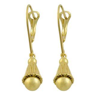 14k Yellow Gold Leverback Dangle Earrings