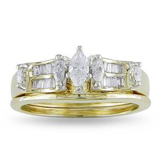 Miadora 14k Yellow Gold 1/2ct TDW Diamond Bridal Ring Set (G H, I1 I2