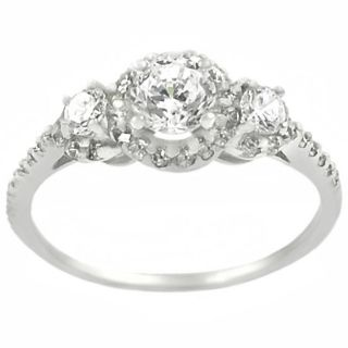 Tressa Sterling Silver Pave set CZ 3 stone Ring
