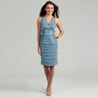 London Times Womens French Blue Pleated Dress