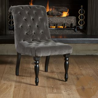 Christopher Knight Home Euro Tufted Charcoal Velvet Chair