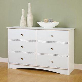 Montego 6 drawer White Wood Dresser
