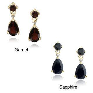 Glitzy Rocks 18k Gold Overlay Garnet or Sapphire Teardrop Earrings