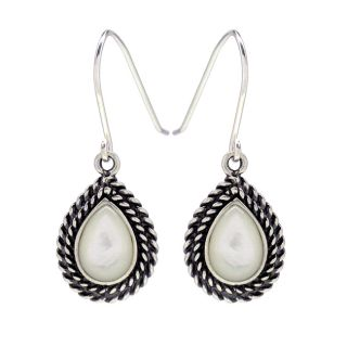 Sunstone Sterling Silver White Mother of Pearl Rope Edge Earrings