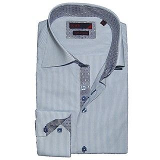 BRIO UOMO Mens Blue/White Striped Cotton Dress Shirt