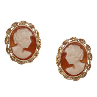 14k Yellow Gold Hand carved Shell Tortiglione Cameo Earrings