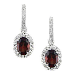 14k White Gold 2/5ct Diamond Garnet Earrings