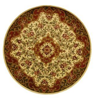 Handmade Classic Juliette Ivory/ Green Wool Rug (8 Round)