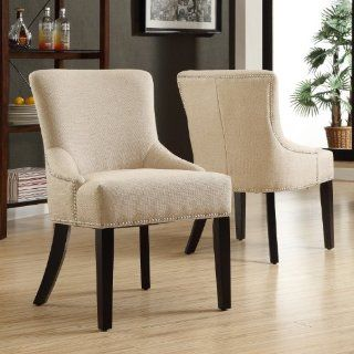 Upholstered Beige Linen Chair With Black Legs, Nailhead