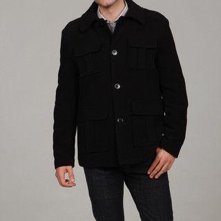 Kenneth Cole Mens Black Military Wool Blend Jacket FINAL SALE