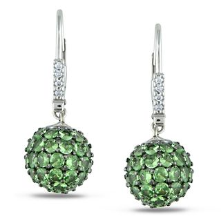 Miadora 14k White Gold Tsavorite and Diamond Earrings