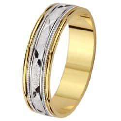 14k Two tone Gold Mens Milligrain X Design Wedding Band