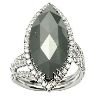 18k Gold 12 3/4ct TDW Black and White Marquise Diamond Ring (F, VS2