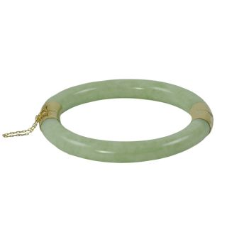 Gems For You 14k Yellow Gold Green Jadeite Bangle Bracelet Today $489