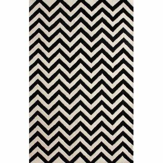 Hand tufted Alexa Spectrum Black Chevron Wool Rug (6 x 9