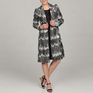 Le Suit Womens Black/ White Animal Print Jacket Dress