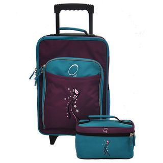 O3 Kids Turquoise Butterfly Luggage and Toiletry Bag Set