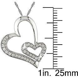 14k Gold 1/4ct TDW Diamond Double Heart Necklace (H I J, I1 I2