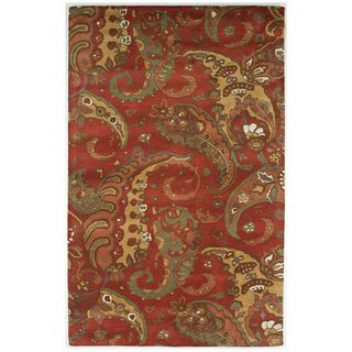 Hand tufted Abstract Soft Coral Wool Area Rug (96 x 136)